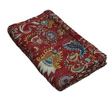 Indian king Size flower print Kantha Quilt Reversible Bedspread Throw@