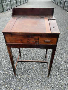 ANTIQUE TALL WOODEN CLERK'S DESK WITH DRAWER AND STORAGE - (collection)