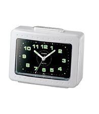 Casio Original New TQ-329 White Analog Alarm Desk Clock Snooze Light Bell TQ329