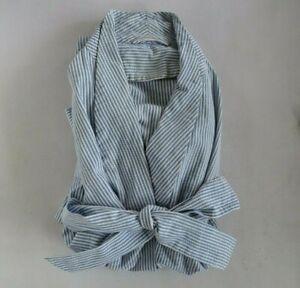 Vintage Men's Classic Blue & White Seersucker Robe & Tie Belt XL