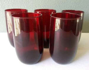"ANCHOR HOCKING - ROLY POLY - ROYAL RUBY GLASS 4 1/4"" TUMBLERS - SET OF 5"