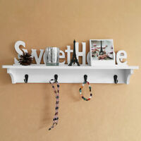 Wooden Wall Mounted Sweet Home Hanging Hanger Hooks Clothes Key Holder