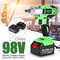 98V Li-Ion Battery 13800mAh 1/2'' Drive Electric Cordless Impact Wrench Tool Kit