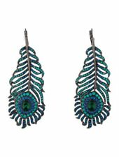 NWT Kenneth Jay Lane Swarovski Crystal Peacock Feather Drop Earrings RETAIL $415