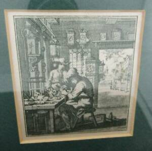 Etching on Silver after Christoph Weigel 1696 The Watchmaker Framed SILK etching