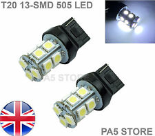2x T20 7443 13-SMD LED BULBS W21/5W WHITE BRAKE TAIL REVERSE LIGHTS 6000K 12v UK