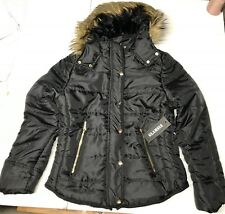 Womens Glamsia Quilted Puffer Fur-Lined Hooded Parka Coat Sz L Black NEW