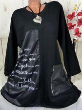 Tunika Shirt Pullover Bluse Italy Top Lagenlook Longshirt Schwarz XXL 44 46 48