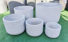 Garden Patio Planter Pot Modstone Montague Round Lightweight Low Bowl White