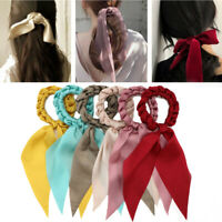 Bow Long Ribbon Ponytail Scarf Hair Tie Scrunchies Elastic Hair Rope Handmade_