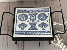 Vintage Ceramic Tile Electric Trivet Hot Plate Food Warmer Blue Grecian Design