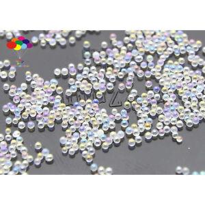 100000pcs 12g Glass WHITE AB Micro Beads small No Hole 0.6-0.8mm Nail Art Caviar