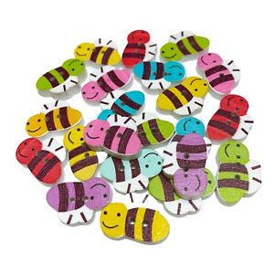 40 WOOD BUMBLE BEE BUTTONS - MIXED RANDOM COLOURS - CRAFT - SEWING - CARDMAKING
