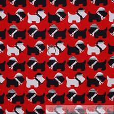 BonEful Fabric Cotton Quilt Red White Black Scottie Dog Small Little Xmas SCRAP