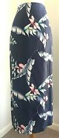 Tommy Bahama 100% Silk Wrap Long Maxi Skirt Blue Floral Womens 6