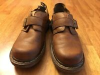 DOC Martens Womens Size 6 M Brown Leather Buckled Club Monk Comfort Shoes