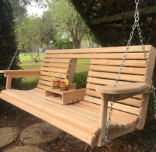 5 Ft Cypress Porch Swing with Flip Down Cup Holders - Handmade in Louisiana