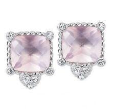 ❤ Judith Ripka Sterling Silver & Rose Quartz Button Earrings ~NEW~  ❤