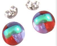 """Tiny DICHROIC Post EARRINGS 1/4"""" 10mm Clear Gold Red Purple Fused GLASS STUDS"""