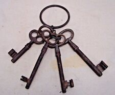 Collection of Four Large Antique House Jail Gate Keys Hand Wrought Iron w Rings