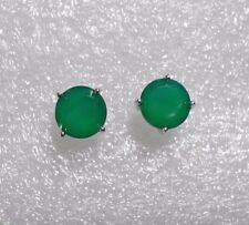 925 Sterling silver studs, 10mm Green Onyx  6.40 carats