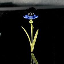 Broche Pin Un Rama Amapolas Azul Hoja Esmalte Verde Perla Negro XZ7