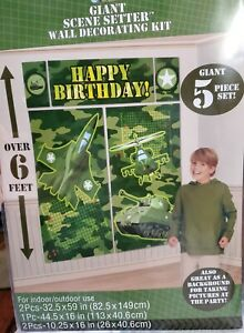 CAMOUFLAGE Military Scene Setter HAPPY BIRTHDAY party wall decoration kit - 6ft