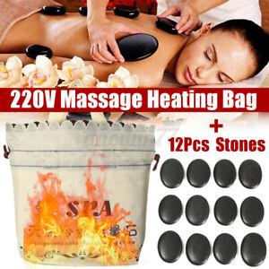 Basalt Massage Hot Stone Set Salon SPA Beauty Electric Heater Rocks Kit Bag