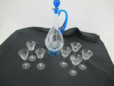 Stopfen Glasstopfen Glasverschluß Bleiglas für Karaffen Flaschen Blau