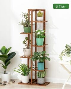 Sydney Local Stock-T Shape Bamboo Made Plant Organizer Stand 6 Tier