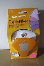 Fiskars Label Tag Maker Punch with built-in Eyelet Setter & 11 Metal Eyelets