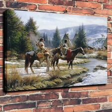 "Art Quality Canvas Print, Painting Indians, The Morning Shift A6006,16""x20"""