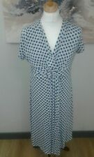 East Navy white Jersey Dress Size 18 stretch spots short sleeves xmas