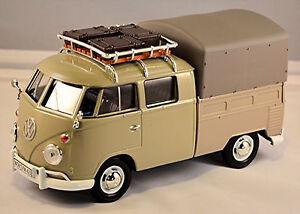 VW Volkswagen T1 Type 2 Crew Cabin With Roof Rack Tarpaulin 1959-67 Light 1:24