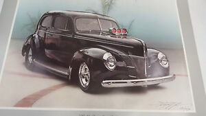 """Kenny Youngblood 23""""X29"""" poster art of Worlds Fastest Street Rod Black 1940 Ford"""