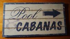 Pool & Cabanas Rustic Wood Plank Beach Hotel Poolside Home Decor Arrow Sign NEW