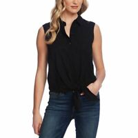 VINCE CAMUTO Women's Embroidered Eyelet Tie-front Button Down Shirt Top S TEDO