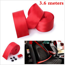 1pcs Red Universal Racing Front 3 Point Safety Retractable Van Car Seat Lap Belt