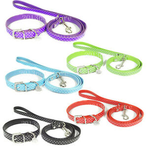 Dog Collar & Leash set small pet Cat necklace pu leather with bling heart Charm
