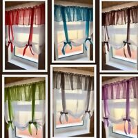Plain Voile Tie Blinds Net Curtain Panels -EXELLENT QUALITY-MADE IN UK-P&P FREE
