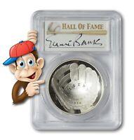 2014-P Baseball HOF Silver $1 -- PCGS PR69 -- Hand Signed By Ernie Banks