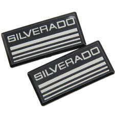 2x Silverado Cab Emblem Badge Side Roof Pillar Decal Plate For Black