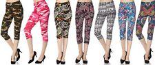 Camo Tie Dye Paisley Print Plus Size Peachskin Capri Print Leggings O/S L09