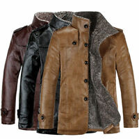 Mens Fleece Winter Warm Jacket PU Leather Parka Trench Coat Outwear Top Overcoat