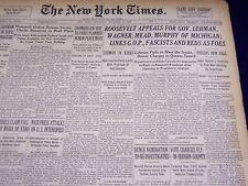 1938 NOVEMBER 5 NEW YORK TIMES - ROOSEVELT APPEALS FOR LEHMAN & WAGNER - NT 2842