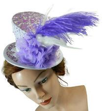 Midi Zylinder Braut Hut weiß lila Hochzeit Damenhut Diadem Fascinator Bride