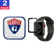 """(2Pack) GLASAVE Apple watch 1 2 3 42mm """"3D CURVED"""" FULL Tempered Glass Protector"""