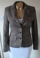 H&M Brown Check Tweed Wool Blend Elbow Patch Fitted Blazer Jacket BNWT 36 UK 10