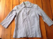 Of Benetton Blue Gray 100% Ramie Soft Natural Womens Over Shirt Button S 35""