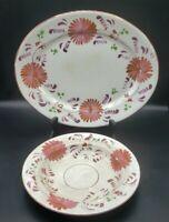 "Dahlia Allertons Plate PINK Copper Luster 1859-1912 12"" Platter & 8.5"" Bowl lot"